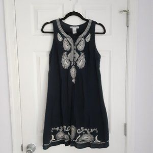 Navy blue & white embroidered cotton dress (S)
